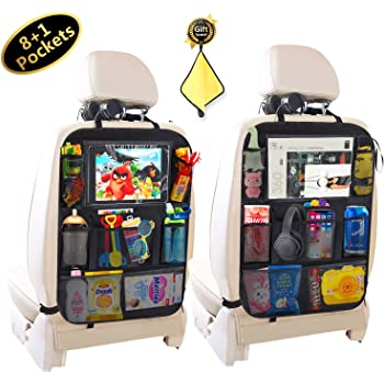 "Car BackSeat Organizer,10""Tablet Holder+9 Storage Pockets Kick Mat,Car Seat Back Protectors for Kids Drink Toy Diaper,Organizers for Van SUV,Car Accessories for Kids &Toddlers(2 Pack) (8+1 pockets)"