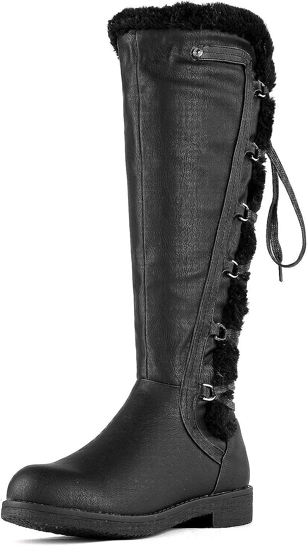 DREAM PAIRS Women's BUSON Faux Fur Knee High Riding Boots