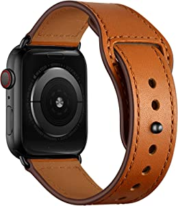 YALOCEA Leather Bands Compatible with Apple Watch Band 44mm 42mm 40mm 38mm, Top Grain Genuine Leather Strap Replacement for iWatch SE Series 6 5 4 3 2 1 (Brown/Black, 44mm 42mm)