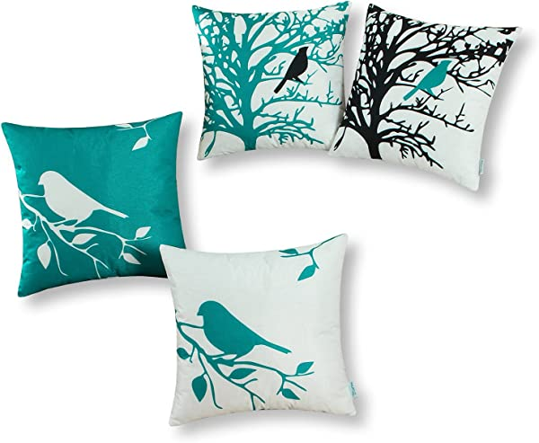 CaliTime Set Of 4 Soft Canvas Throw Pillow Covers Cases For Couch Sofa Home Decoration Shadow Bird Tree Branches Silhouette 20 X 20 Inches Teal