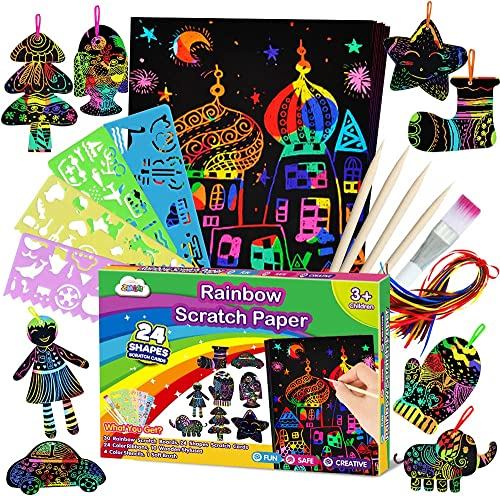 ZMLM Scratch Paper Art Set for Kids - Rainbow Magic Scratch Off Arts and Crafts Supplies Kits Sheet Pack for Children...