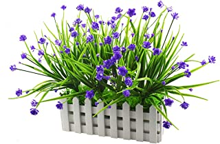 Evinis Artificial Outdoor Flowers Plants UV Resistant Fake Greenery in Picket Fence Pot Pack for Window Box Cemetery Home Indoor Garden Office Wedding Decor (Blue)