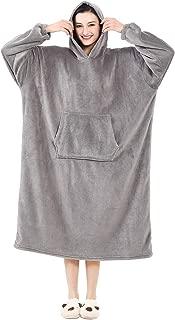 AOLIGE Fleece Wearable Winter Blanket Hoodie with Sleeves Soft Plush Warm Sweatshirt for Adults