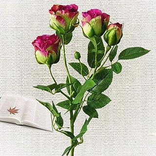 WanTo 4 Cabezas Artificiales Flor de Rosa Rama Seda Toque Real Simulación Falsas Flores de Rosa para la Fiesta de Bodas Casa de Campo Decoración, Rosa Roja
