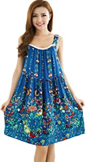 LY Women's Boho Cotton Blend Sleeveless Floral Pattern Nightgown