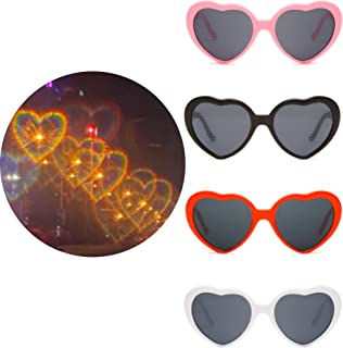 Yulefly Lot de 4 paires de lunettes à effet spécial - 4 couleurs - Effet romantique - Effet 3D - Forme de cœur - Pour bar,...