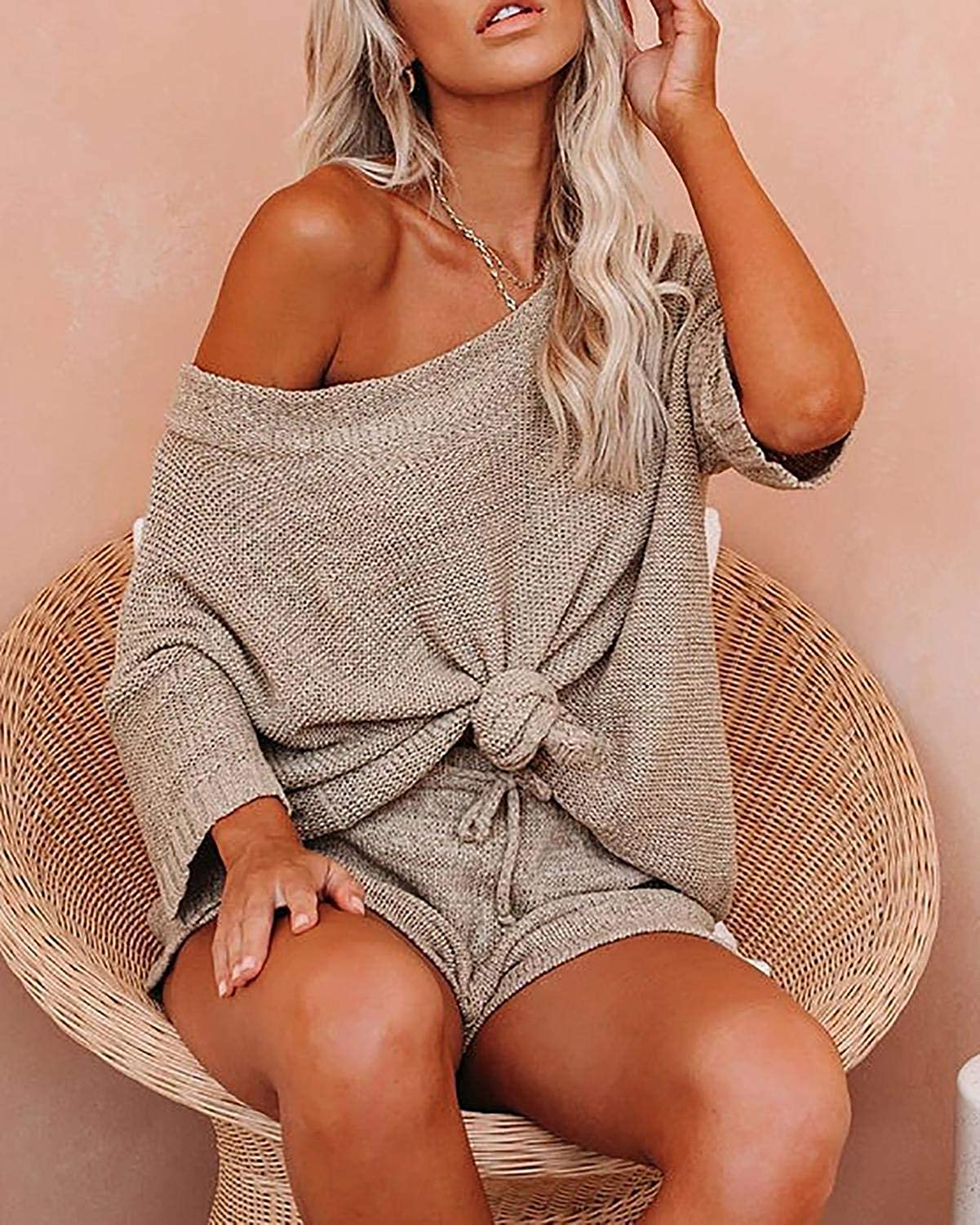 Ermonn Womens 2 Piece Outfits Sweater Sets Off Shoulder Knit Tops Waist Short Suits Casual Pajama Set