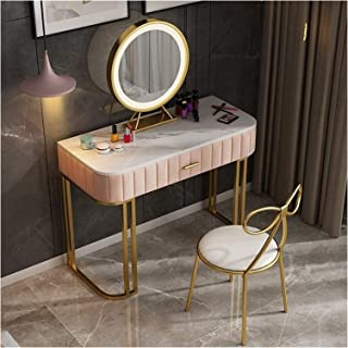 Makeup dressing table Dressing Table Vanity Set with Led Lighted Mirror, 2 Drawers and Cushioned Stool Set, Makeup Vanity ...