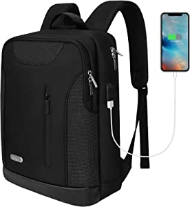 Lindan Slim Business Laptop Backpack for Men Women,Stylish School Computer Bookbag Fits 15.6 Inch Notebook with USB Charging Port for Business College Travel-Black