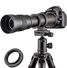 لنز دوربین زوم تلفن JINTU 420-800mm f / 8.3-F16 برای Canon EOS Rebel APS-C DSLR 60D، 77D، 70D، 80D، 650D، 750D، 7D، T7i، T7s، T7، T6s، T6i، T6، T5i، T5 ، دوربین های SL2 دیجیتال SLR دیجیتال + کیف حمل