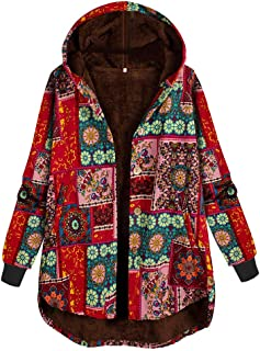 Plus Size Women Side Button Ethnic Print Hooded Long Sleeve Vintage Coat