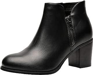 Luoika Women's Wide Width Ankle Boots - Mid Chunky Block Heels Round Toe Side Zipper Booties.…