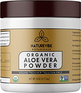 Organic Aloe Vera Leaf Powder (8 Ounce) - Aloe Barbadensis - USDA Certified Organic | Hair Care | Promotes Skin Health | Ayurvedic Herbal Supplement