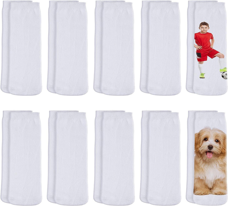 10 Pairs Blank White Sublimation Socks Printable Athletic Crew Sock