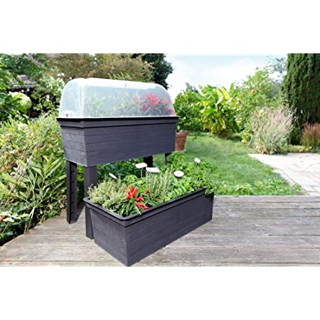 Juwel TRB2-20474 Exaco Polyethylene Planter Box Patio Growing Kit Grey