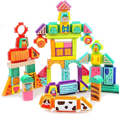 Vieh baute Bausteine  pielzeug 2-3 Jahre alte p gogische Spielwaren der Kinder 80 Tabletten Satz zusammen