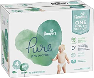 Diapers Size 4, 150 Count - Pampers Pure Protection Disposable Baby Diapers, Hypoallergenic and Unscented Protection, ONE MONTH SUPPLY