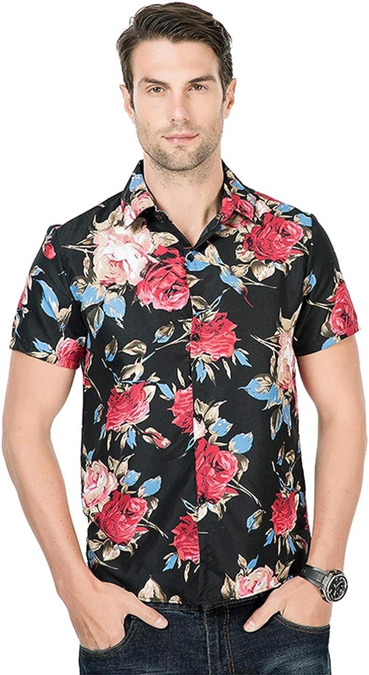 Men's Shirt Casual Fashion Vintage Hawaiian Print Short Sleeve Flower Shirt Shirt Simple and Versatile