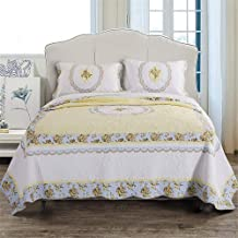 Bedspread Quilt Cotton Bed Throw Blanket Patchwork Flowers Pattern Quilted Coverlet Multifunction Reversible Bed Blanket/B...