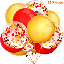 TecUnite 80 Pieces Gold and Red Balloons Latex Balloons Confetti Balloons Colorful Party Balloons for Christmas Halloween Mermaid Valentine's Day St. Patrick's Day, 12 inch (Gold, Red)