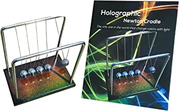 FAXADELLA Holographic Newtons Cradle with Holographic Wooden Base - Stainless Steel Balls