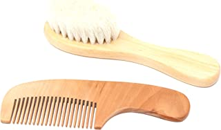 Natural Soft Baby Brush and Comb Set for Newborn Baby and Toddlers Eco-Friendly Wood Handle Made Well Package Right from HappyTeenok