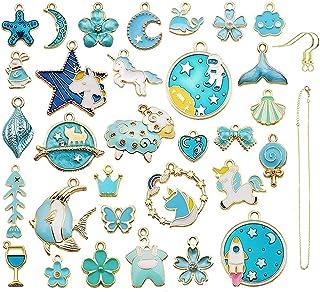 34Pcs breloques en émail bleul,Plaqué Or Émail Charmes Charms Planète Lune Les Étoiles,pour Fabrication de Bijoux Portes-c...