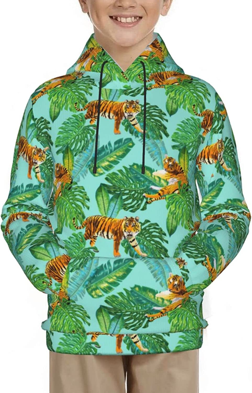 Wild Animals Tigers In Jungle Forest Banana Palm Sweatshirt Pull