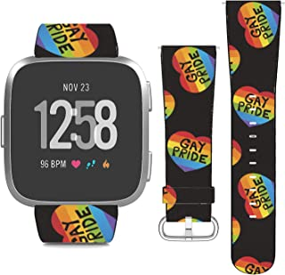 nobrand Compatible with Versa/Versa 2/Versa Lite/SE, (Gay Pride Rainbow Hearts Pattern) PU Leather Band Replacement Strap ...