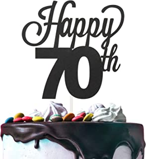 Happy 70th Birthday Black Glitter Cardstock Paper Cake Topper Cheers to 70 Years Old Bday Party Gift Photo Booth Sign Decoration - Premium Double Sided