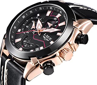 Men Quartz Sports Watch Chronograph Fashion Luxury Brand Designer Original Leather Strap Rose Gold Casual Business Wrist Watches
