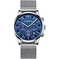 Men's Fashion Watch Simple Casual Analog Quartz Date with Black Milanese Mesh Band Minimalist...