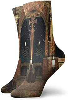 N / A, Iglesia gótica Calcetines informales de moda casual Divertidos para botas deportivas Senderismo Running 30 cm / 11.8 pulgadas