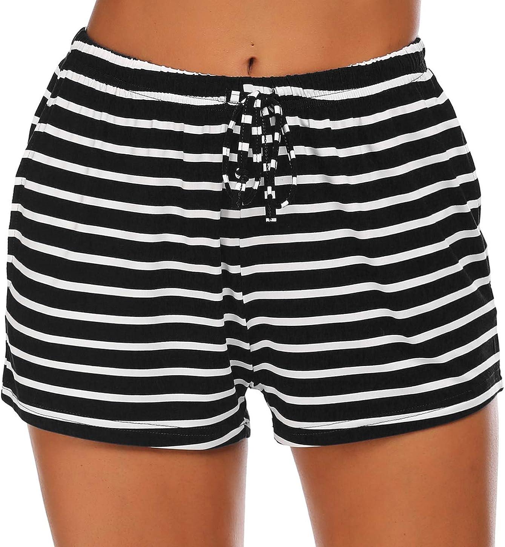 Ekouaer Women Pajama Shorts Comfy Lounge Bottom with Pockets Stretch Strip Sleepwear Drawstring Pj Bottoms Sleep Shorts