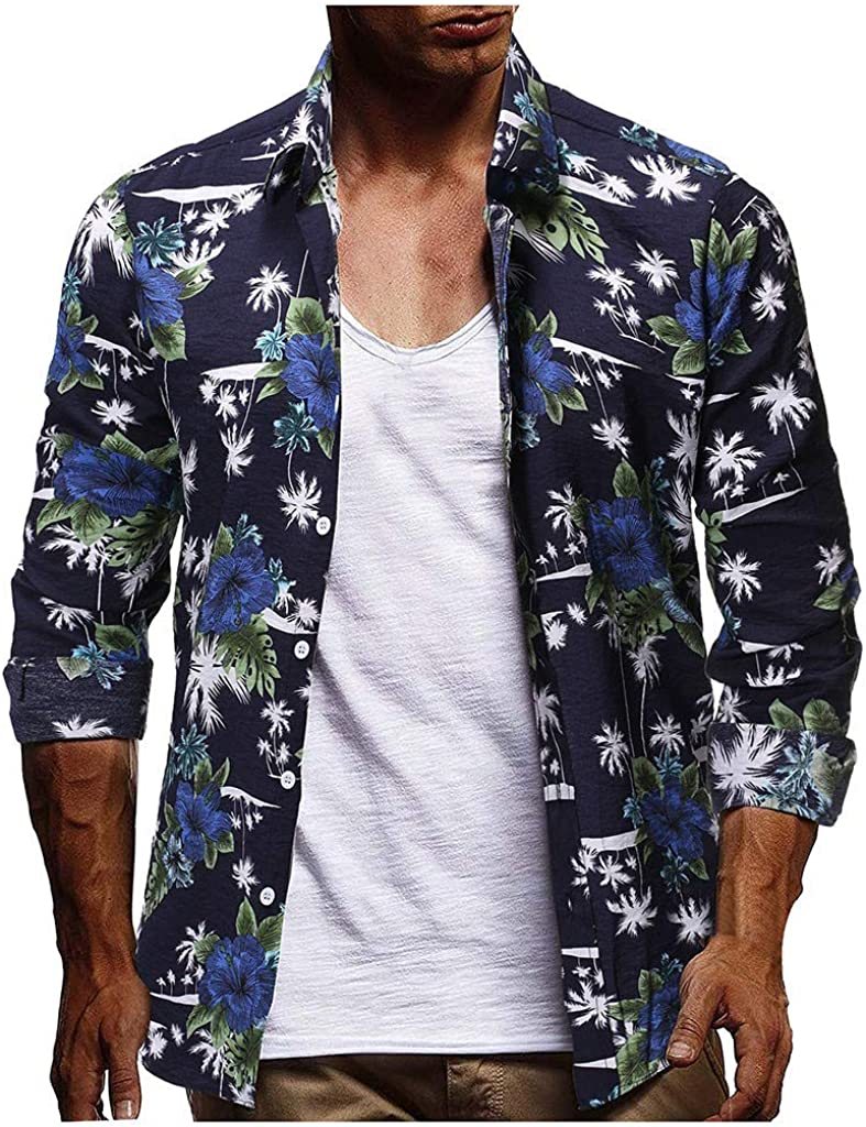 DIOMOR Fashion Hawaiian Colorful Button Down Shirts for Men Party Beach Slim Fit Trendy Lapel Tops Holiday Funny Blouse