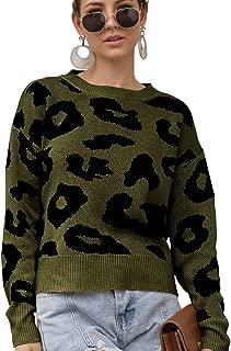 JojoQueen Women's Stylish Leopard Pullover Sweater Crew Neck Long Sleeve Loose Tops Soft Knitwear Blouse