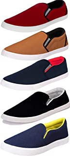 Shoefly Men's Multi-Coloured Canvas Casual Shoes/Loafers/Moccasins - Pack of 5 (Combo-(5)-1058-1096-1002-723-1093)
