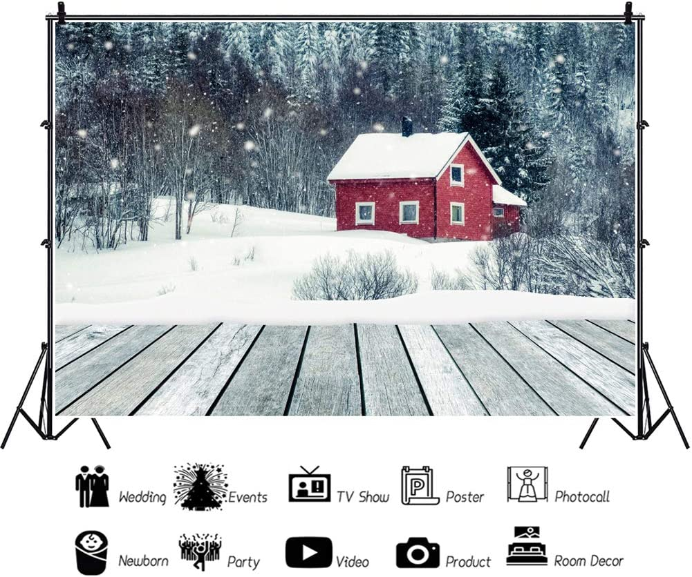 YongFoto 8x6ft Winter Scenery Backdrop Little Red House Snowy Forest Rustic Wooden Board Background for Photography Party Shoot Banner Portrait Photo Studio Props Wallpaper Decoration