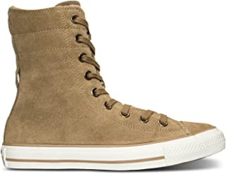 Chuck Taylor All Star Hi Rise Sand/Egret Suede Sneakers 553421C Women Boot Shoes