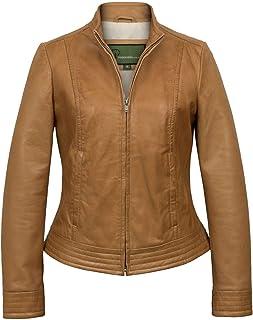 HIDEPARK Evie: Women's Tan Leather Biker Jacket