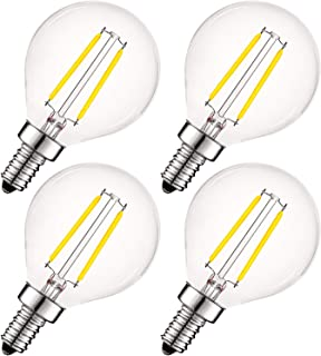 Luxrite 4W Vintage G16.5 LED Globe Light Bulbs Dimmable, 5000K Bright White, 400 Lumens, E12 LED Bulb 40W Equivalent, Clear Glass, Edison Filament LED Candelabra Bulb, UL Listed (4 Pack)