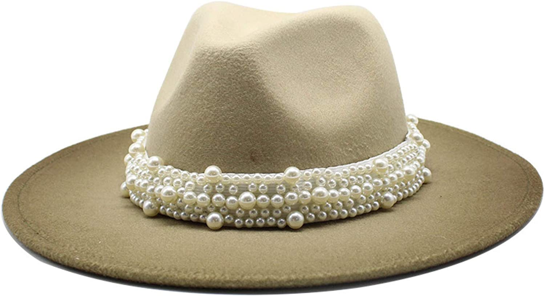 Ladies Vintage Pearl Fedora Hat Stretch Wide Brim Wool Floppy Hat Timeless Elegant Panama Hat for Outdoor Wedding