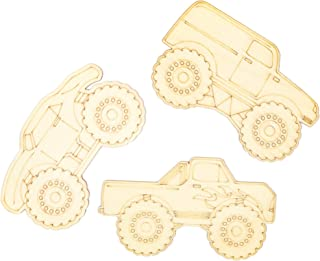 Bright Creations Unfinished Wood Cutouts for DIY Crafts (24 Pack), Monster Trucks
