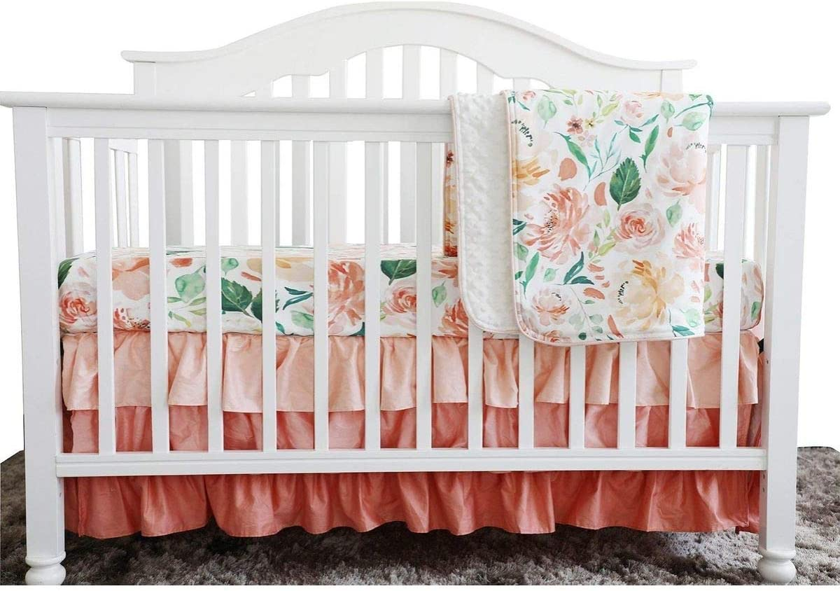 Secret Garden Coral Floral Colorado Max 70% OFF Springs Mall Ruffle Water Blanket Minky Color Baby