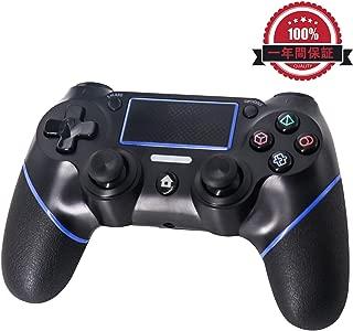 UNIRAKU PS4 ワイヤレスコントローラー PS4 PRO、PS4 SLIM、PS4に対応 タッチパッド、ライトバー、「SHARE」機能、イヤホンジャック、 ジャイロスコープ、3軸加速器、振動機能を持ち 接続簡単 Playstation 4用互換品人間工学を極めた設計で、ゴム製グリップが手に良い触感を提供します