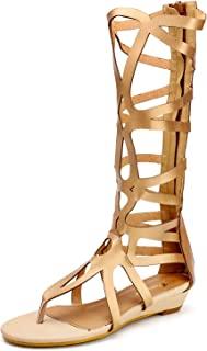 Odema Womens Knee High Gladiator Thong Sandals Summer Roman Strappy Flat Zip Sandal Boot