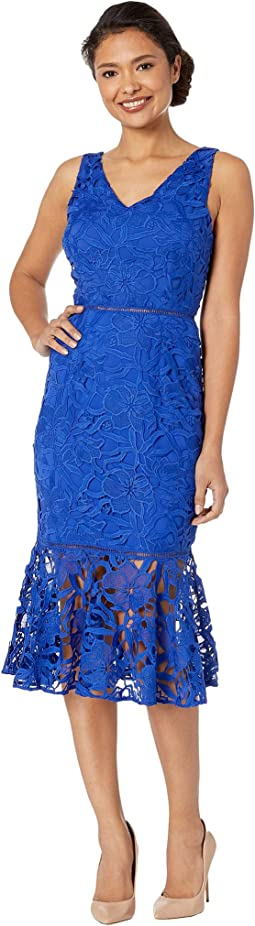 V-Neck Lace Midi Dress