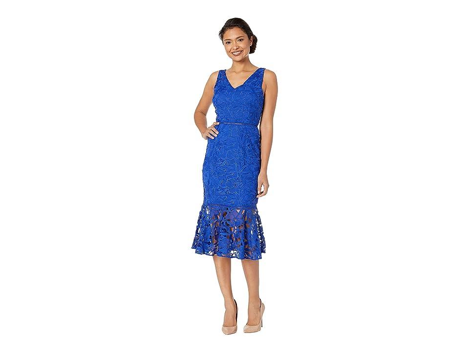 ALEXIA ADMOR V-Neck Lace Midi Dress (Navy) Women