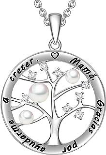 LOVORDS Collar Mujer Grabado Plata de Ley 925 Colgante Árbol de la Vida Familiar Perla Cultivada Blanca de Agua Dulce 3-4m...