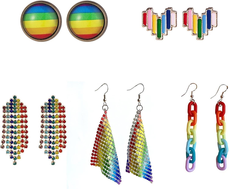 5 Pairs Rainbow Earrings Pride Earrings Lightweight Rainbow Chain Earrings Round Heart Rainbow Drop Earrings Pride Rainbow Ear Round Rainbow Hoop Stud Earring Pride Jewelry